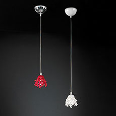 Pendant lamp with ceramic coral-shaped decorations