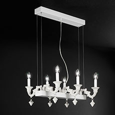 Ceramic chandelier with supporting metal structure