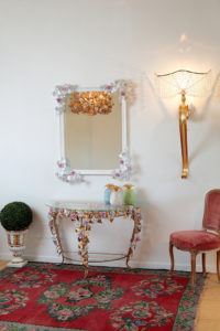Rectangular mirror and wall console