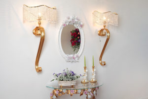 Oval mirror and wall console