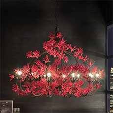Metal chandelier with ceramic coral-shaped ornaments