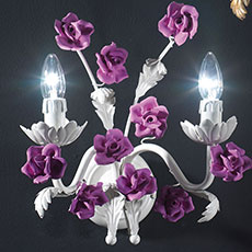 2 light applique with porcelain rose-shaped ornaments