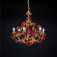 6-8-12 light metal chandelier with flower-shaped ornaments