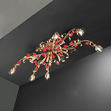Metal ceiling lamp with porcelain rose-shaped ornaments