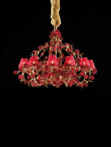 Tiziano LFM/R/06-08-12 red gold ivory with lampshade