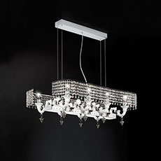 Ceramic chandelier with crystal lampshades
