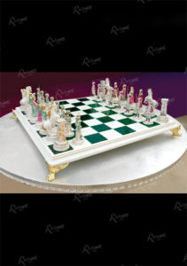 White and green chessboard