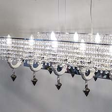 12 light ceramic chandelier with crystal lampshades